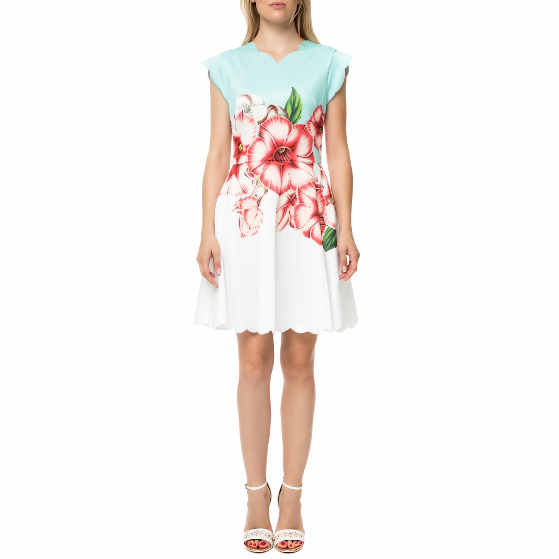 TED BAKER - Γυναικείο μίνι φόρεμα TED BAKER MAEVEA λευκό - γαλάζιο με φλοράλ γυναικεία ρούχα φορέματα μίνι