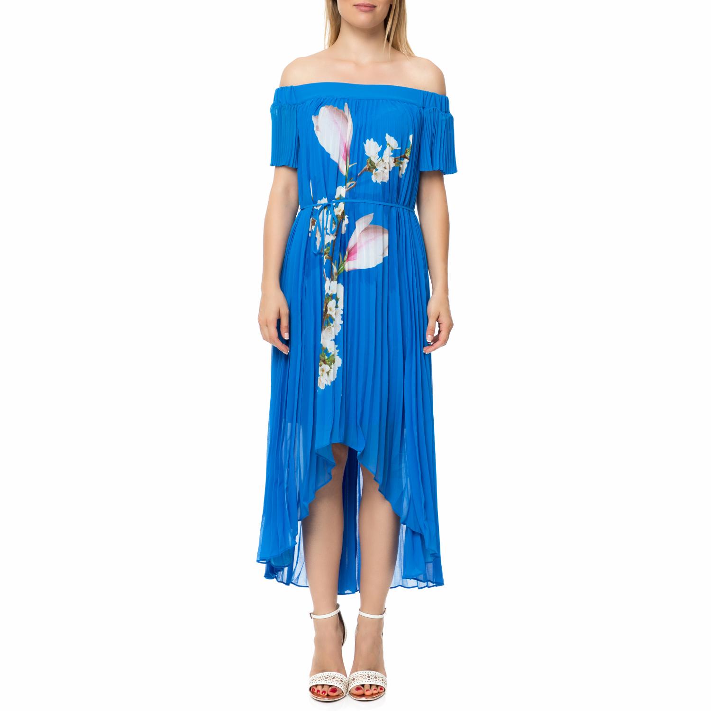 TED BAKER - Γυναικείο πλισέ μάξι φόρεμα MELMA HARMONY μπλε με print γυναικεία ρούχα φορέματα μάξι