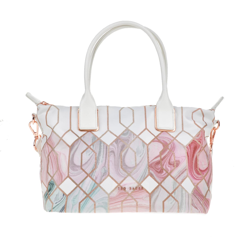 TED BAKER - Γυναικεία τσάντα ώμου SHELBEE SEA OF CLOUDS με μοτίβο γυναικεία αξεσουάρ τσάντες σακίδια ωμου