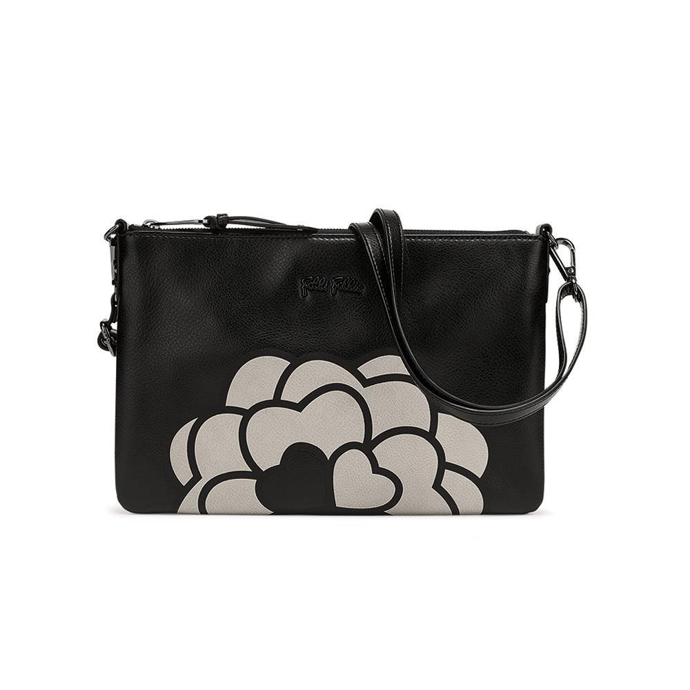 FOLLI FOLLIE - Γυναικεία τσάντα φάκελος FOLLI FOLLIE μαύρος γυναικεία αξεσουάρ τσάντες σακίδια φάκελοι clutch