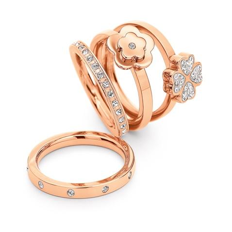 948130204e Σετ από τέσσερα δαχτυλίδια FOLLI FOLLIE ροζ-χρυσά (1629416.0-0000 ...