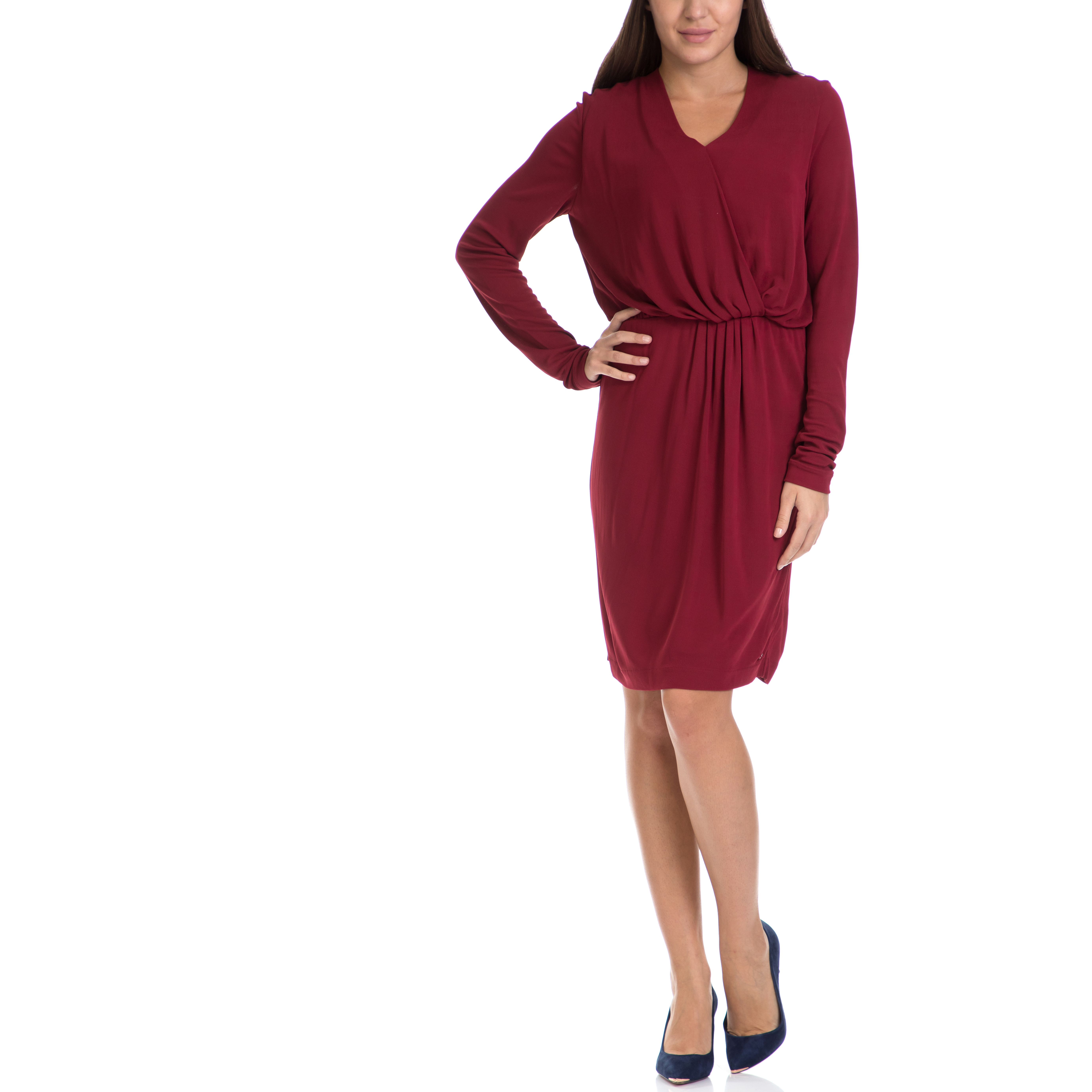 TOMMY HILFIGER - Γυναικείο φόρεμα JAHIA TOMMY HILFIGER κόκκινο γυναικεία ρούχα φορέματα μέχρι το γόνατο