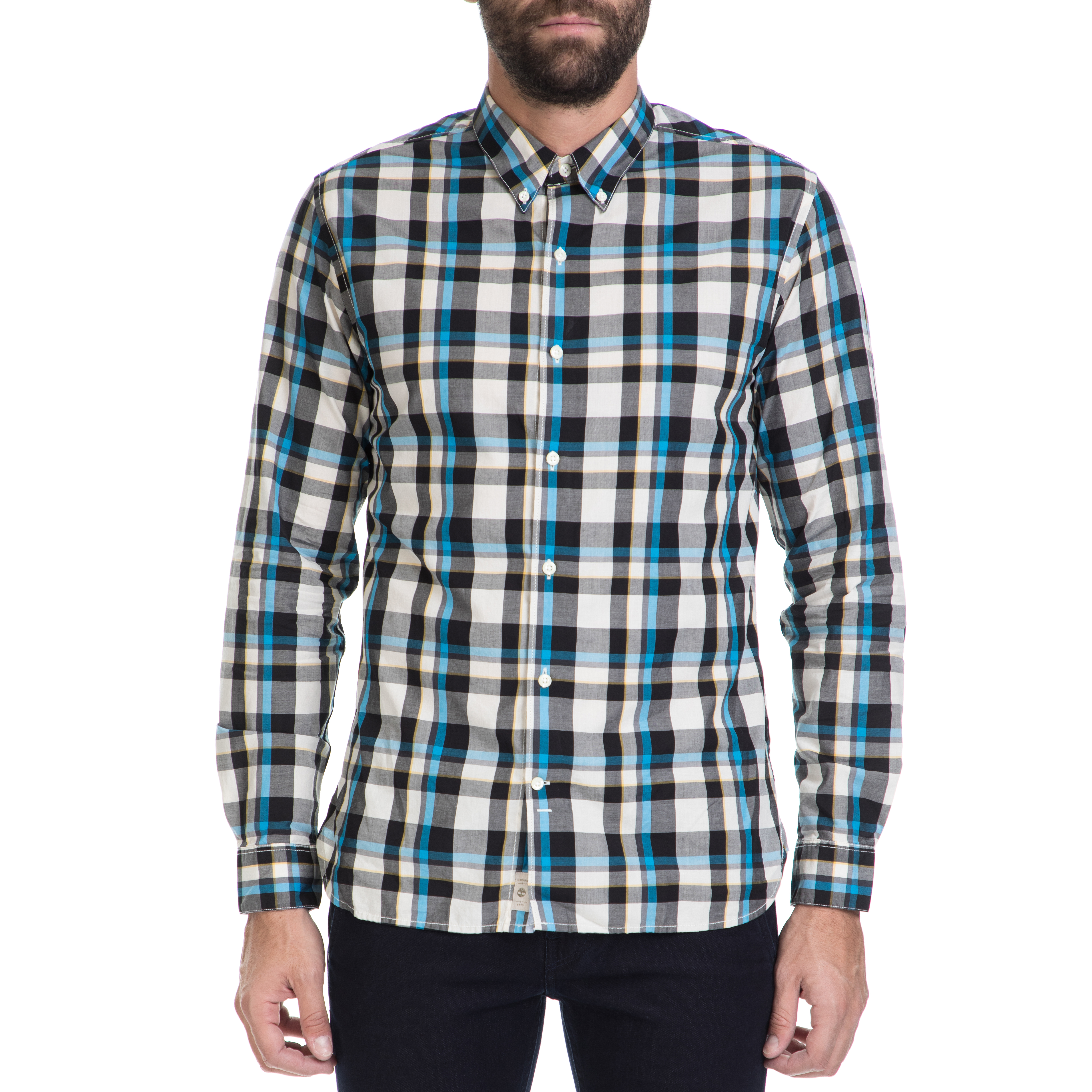 TIMBERLAND - Ανδρικό πουκάμισο TIMBERLAND λευκό-μαύρο-μπλε ανδρικά ρούχα πουκάμισα μακρυμάνικα