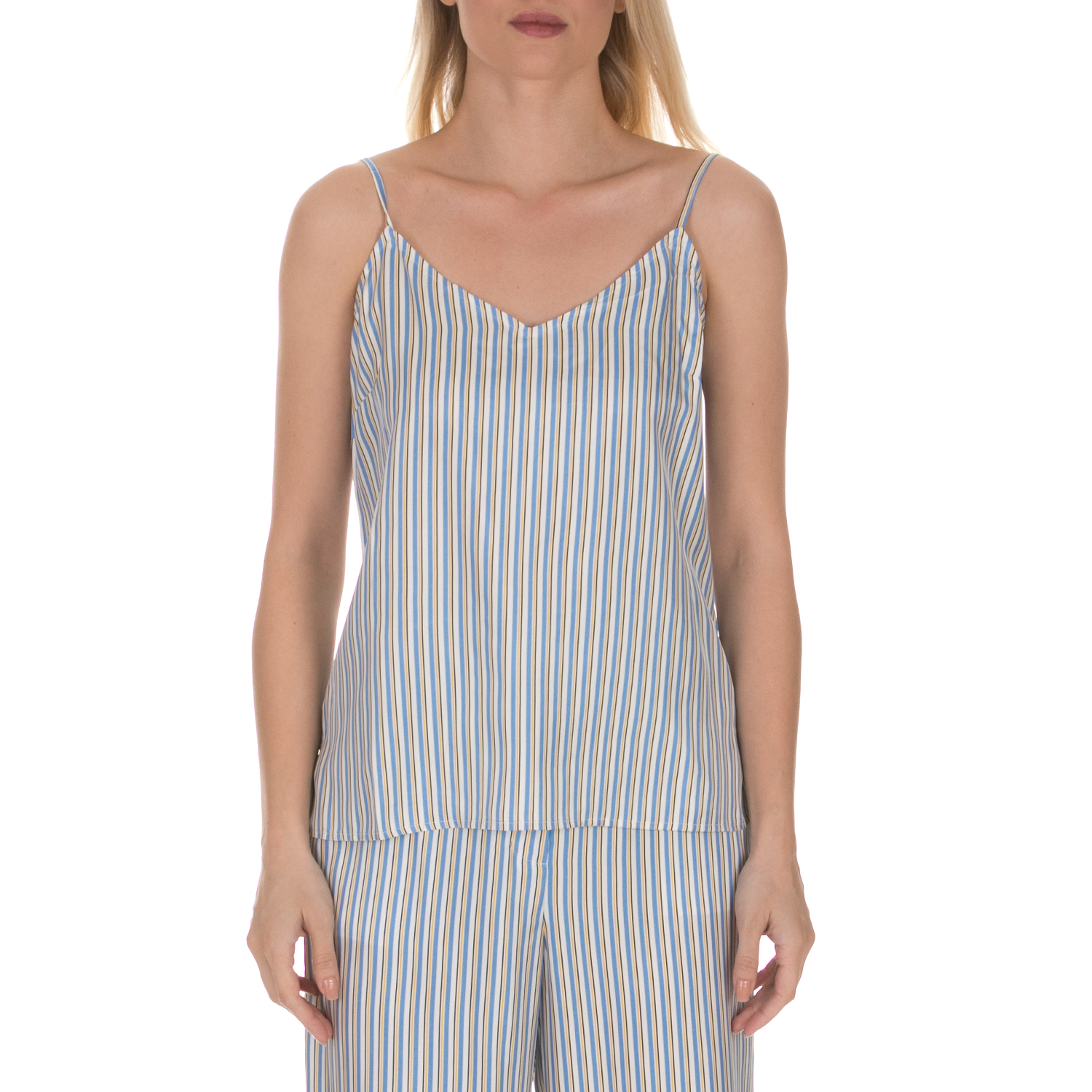 JUICY COUTURE - Γυναικείο τοπ JUICY COUTURE TICKING STRIPE CAMI ριγέ μπλε κίτρινο