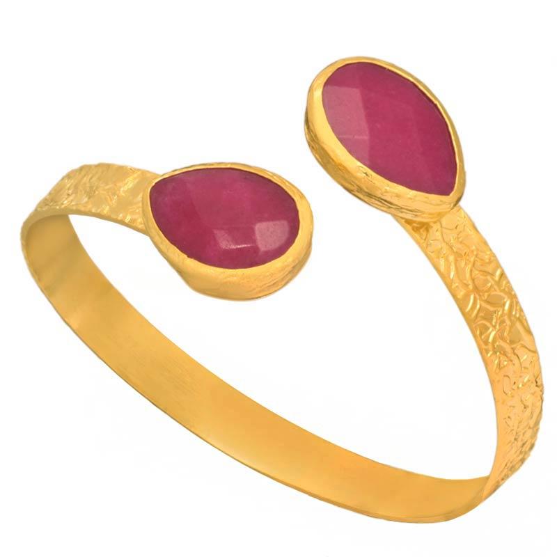 JEWELTUDE - Επίχρυση χειροπέδα Σταγόνες Ορυκτές Πέτρες γυναικεία αξεσουάρ κοσμήματα βραχιόλια