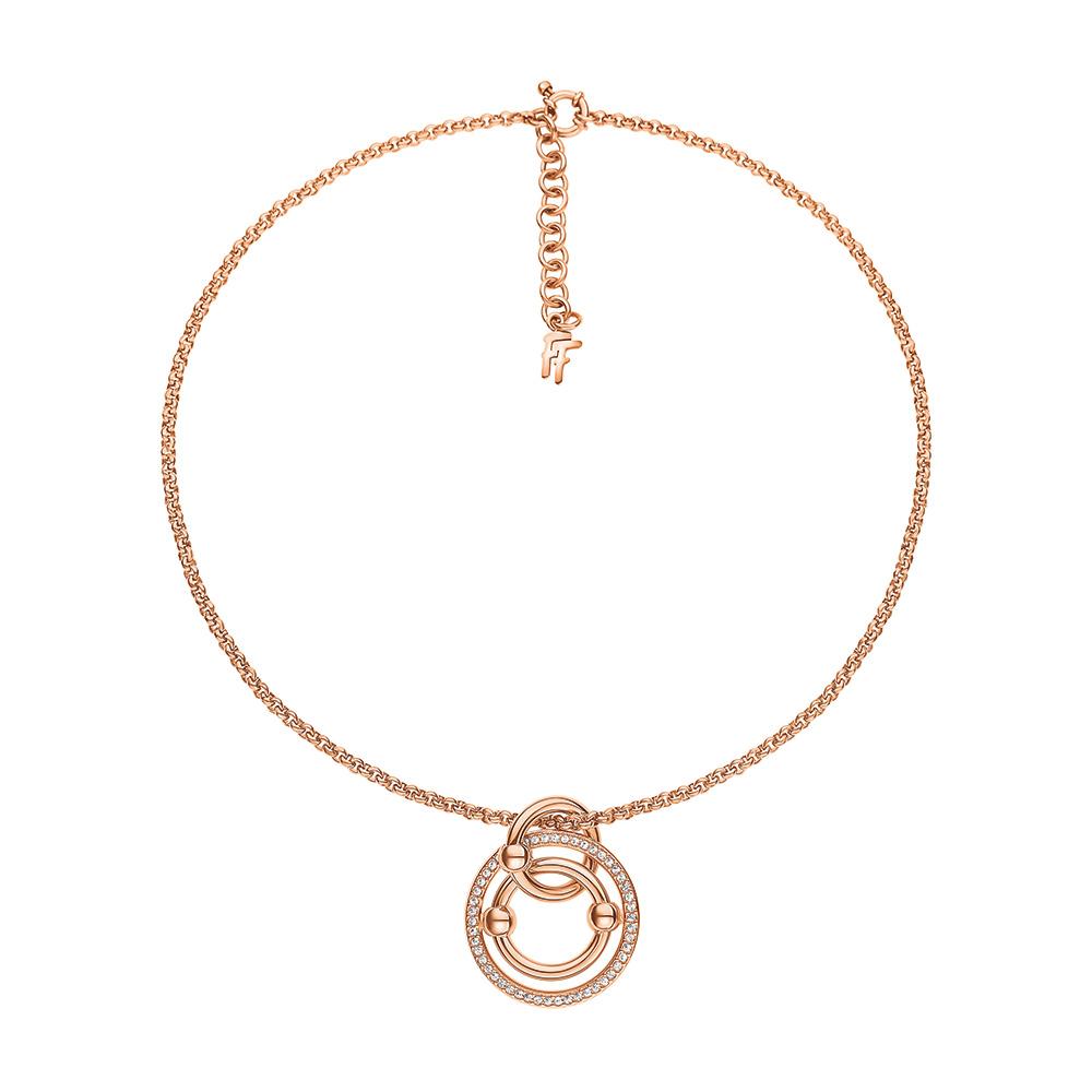 f89268006d FOLLI FOLLIE – Γυναικείο κοντό κολιέ   κρυστάλλινες πέτρες BONDS  επιχρυσωμένο ροζ