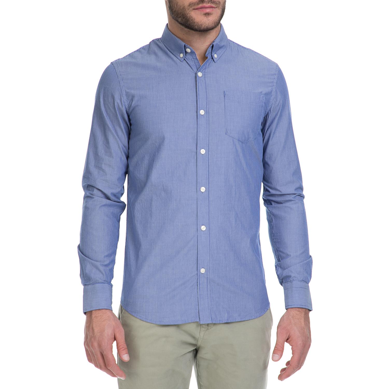 FUNKY BUDDHA - Ανδρικό πουκάμισο FUNKY BUDDΗA μπλε ανδρικά ρούχα πουκάμισα μακρυμάνικα