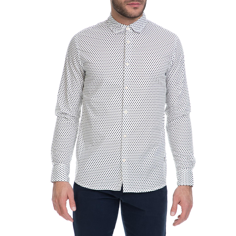 FUNKY BUDDHA - Ανδρικό πουκάμισο FUNKY BUDDHA λευκό-μαύρο ανδρικά ρούχα πουκάμισα μακρυμάνικα
