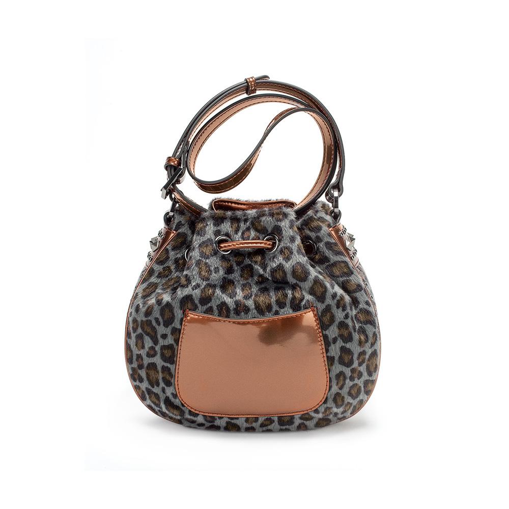 FOLLI FOLLIE - Γυναικεία τσάντα πουγκί FOLLI FOLLIE λεοπάρ γυναικεία αξεσουάρ τσάντες σακίδια χιαστή   cross body