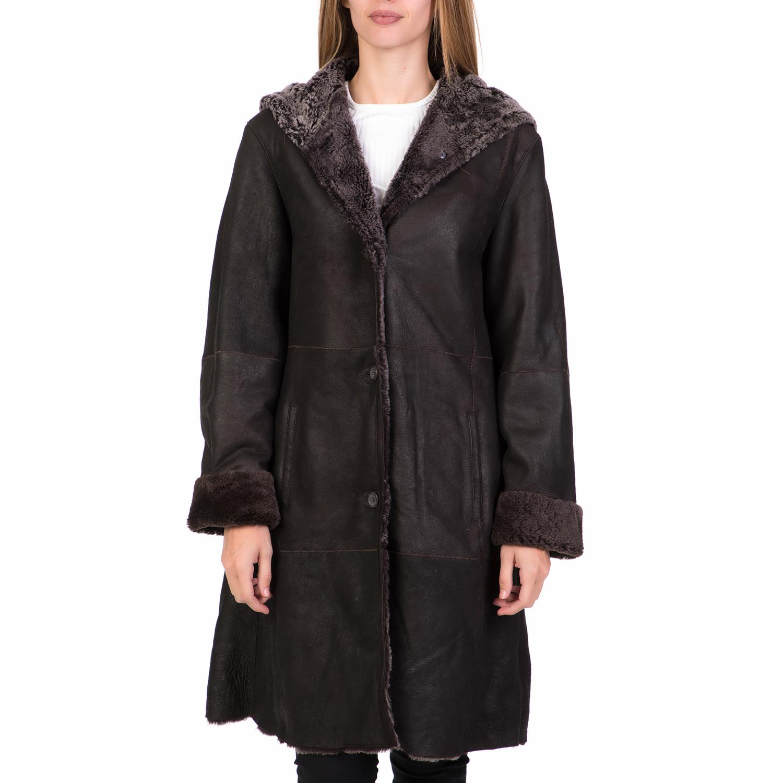 ARMA MAYS & ROSE - Γυναικείο δερμάτινο μακρύ παλτό με κουκούλα ARMA MAYS & ROSE  γυναικεία ρούχα πανωφόρια παλτό