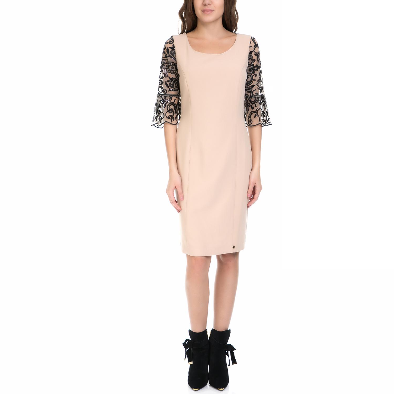 VS - Γυναικείο φόρεμα VS μπεζ-μαύρο γυναικεία ρούχα φορέματα μέχρι το γόνατο