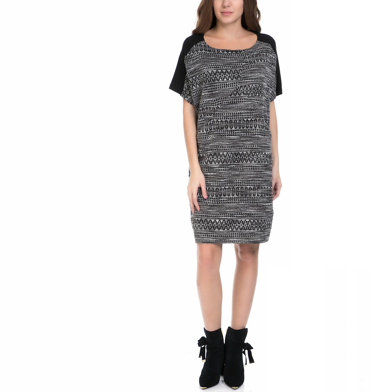 VINTAGE SUGAR - Γυναικείο φόρεμα VINTAGE SUGAR μαύρο-λευκό γυναικεία ρούχα φορέματα μέχρι το γόνατο
