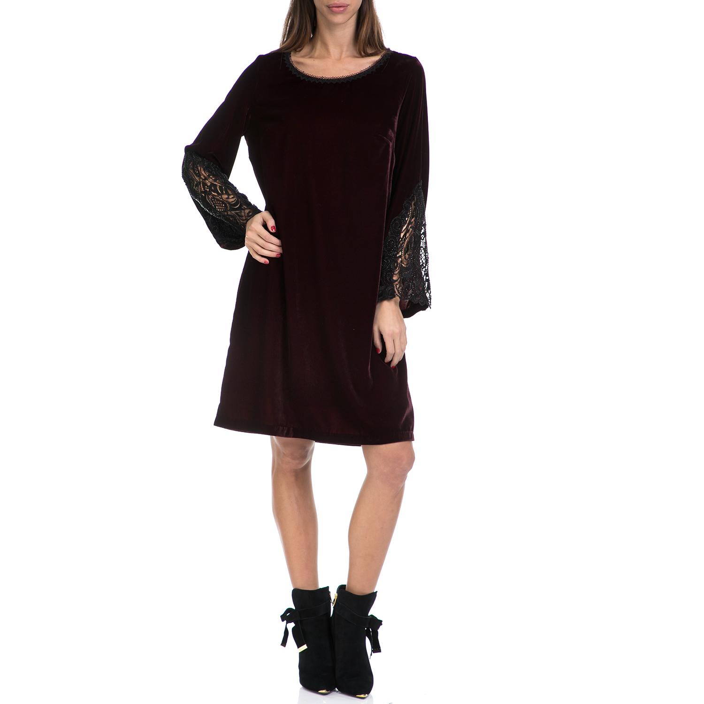 VS - Γυναικείο φόρεμα VS μαύρο-μπορντό γυναικεία ρούχα φορέματα μέχρι το γόνατο
