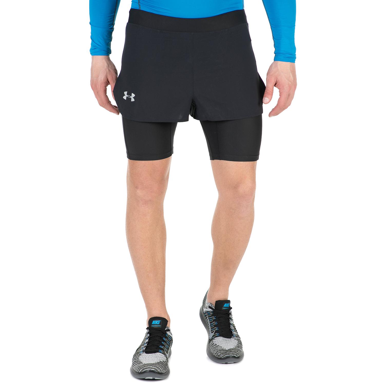 UNDER ARMOUR - Ανδρικό αθλητικό σορτς με κολάν TRANSPORT 2-IN-1 μαύρο ανδρικά ρούχα σορτς βερμούδες αθλητικά