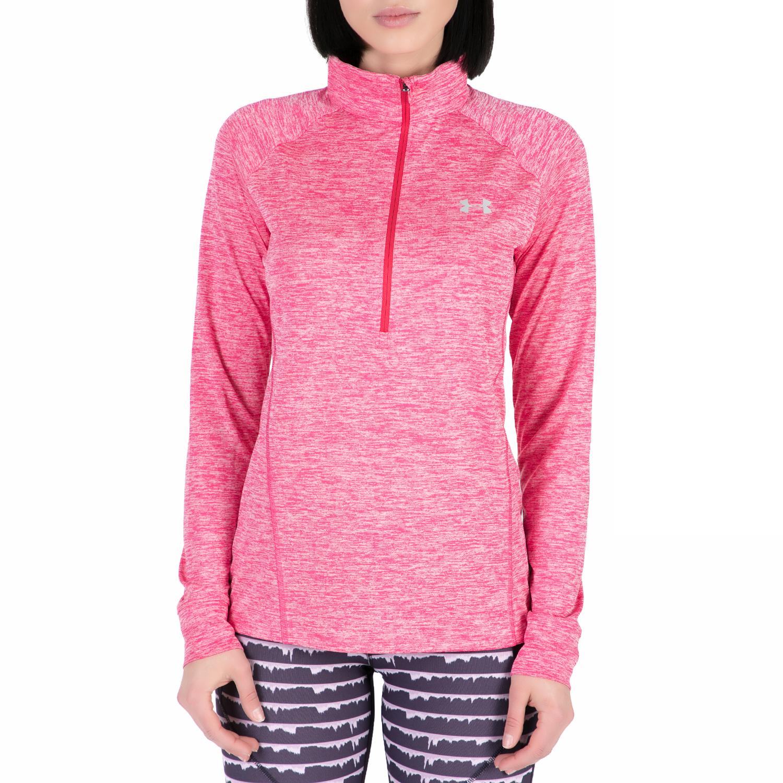UNDER ARMOUR - Γυναικεία αθλητική μακρυμάνικη μπλούζα Tech 1/2 Zip -Twist ροζ γυναικεία ρούχα αθλητικά φούτερ μακρυμάνικα
