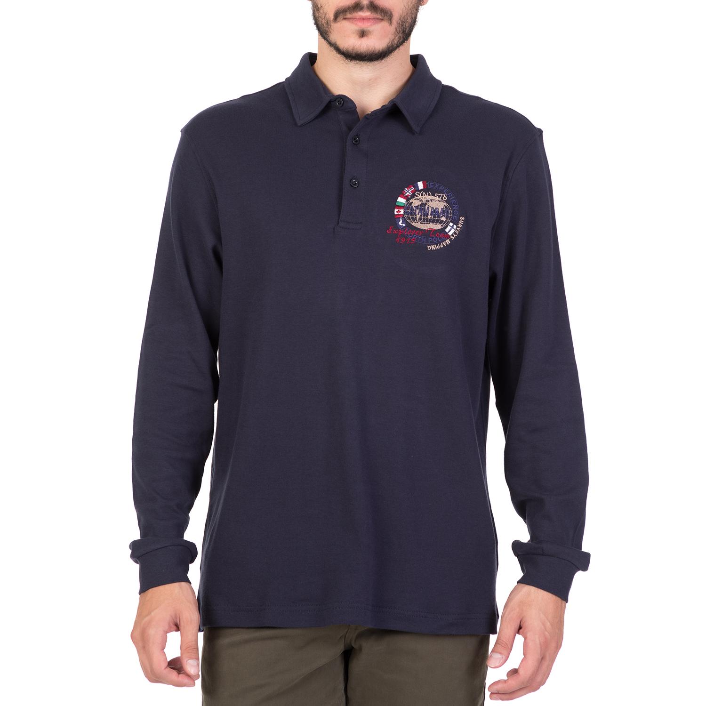 CATAMARAN SAILWEAR - Ανδρική μακρυμάνικη πόλο μπλούζα CATAMARAN SAILWEAR μπλε