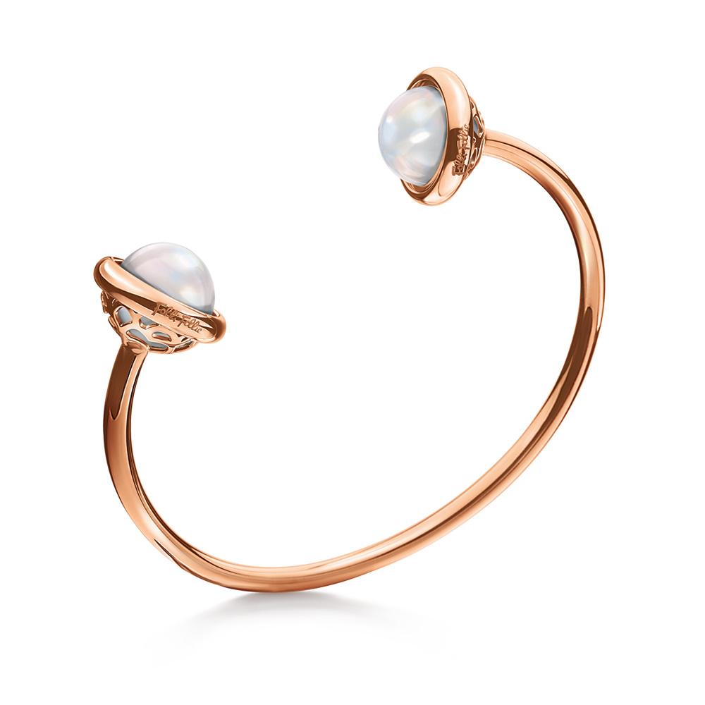 FOLLI FOLLIE - Γυναικείο σταθερό ανοιχτό βραχιόλι ORBIT με λευκές πέτρες γυναικεία αξεσουάρ κοσμήματα βραχιόλια