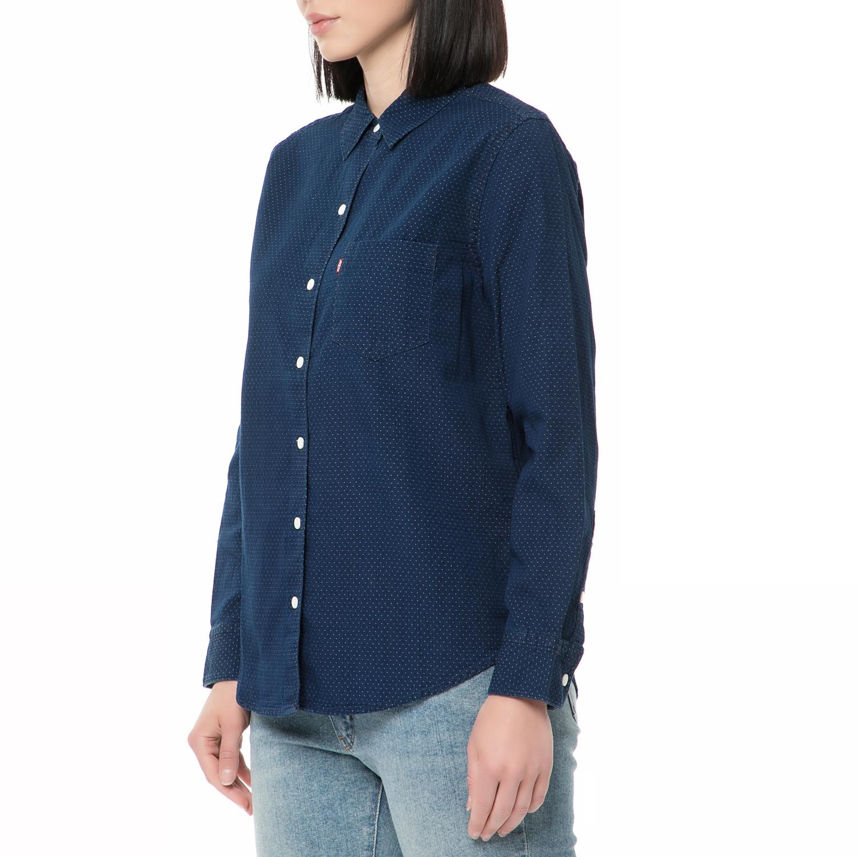 bad3a2dd9093 LEVI S - Γυναικείο τζιν πουκάμισο SIDNEY BOYFRIEND μπλε πουά ...