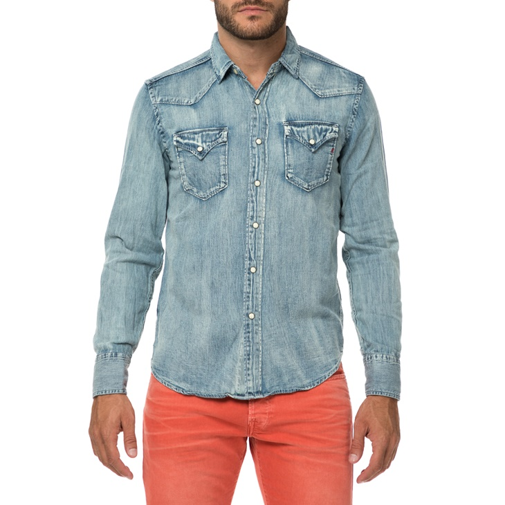 ee56ec8571c7 Ανδρικό τζιν πουκάμισο REPLAY μπλε (1640888.0-0033)