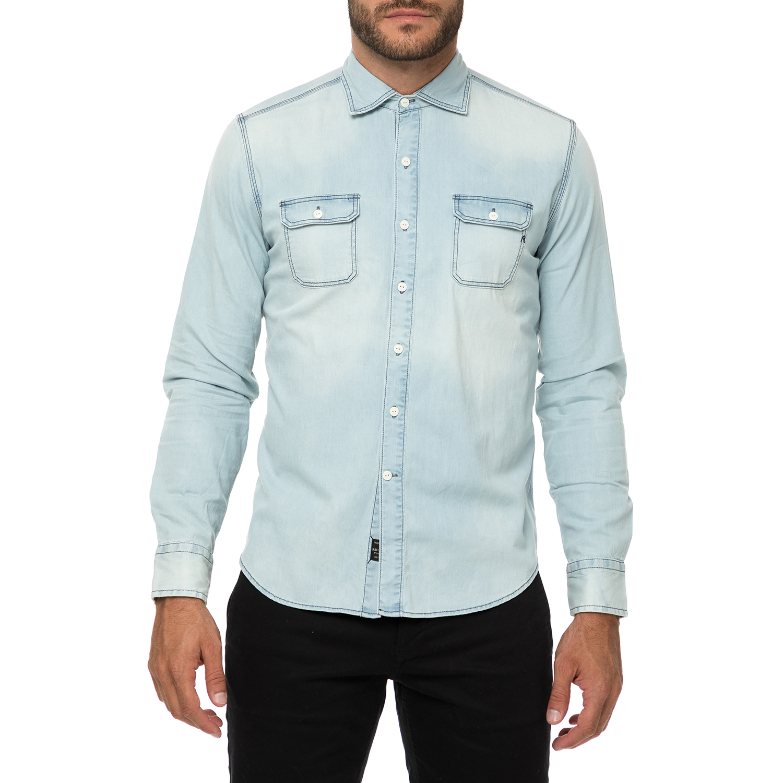 REPLAY - Ανδρικό τζιν πουκάμισο REPLAY γαλάζιο ανδρικά ρούχα πουκάμισα μακρυμάνικα