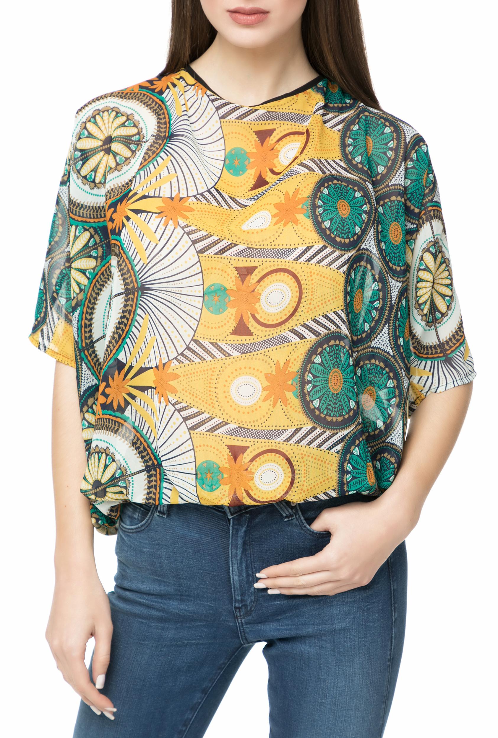 MOLLY BRACKEN - Γυναικείο τοπ MOLLY BRACKEN εμπριμέ γυναικεία ρούχα μπλούζες κοντομάνικες