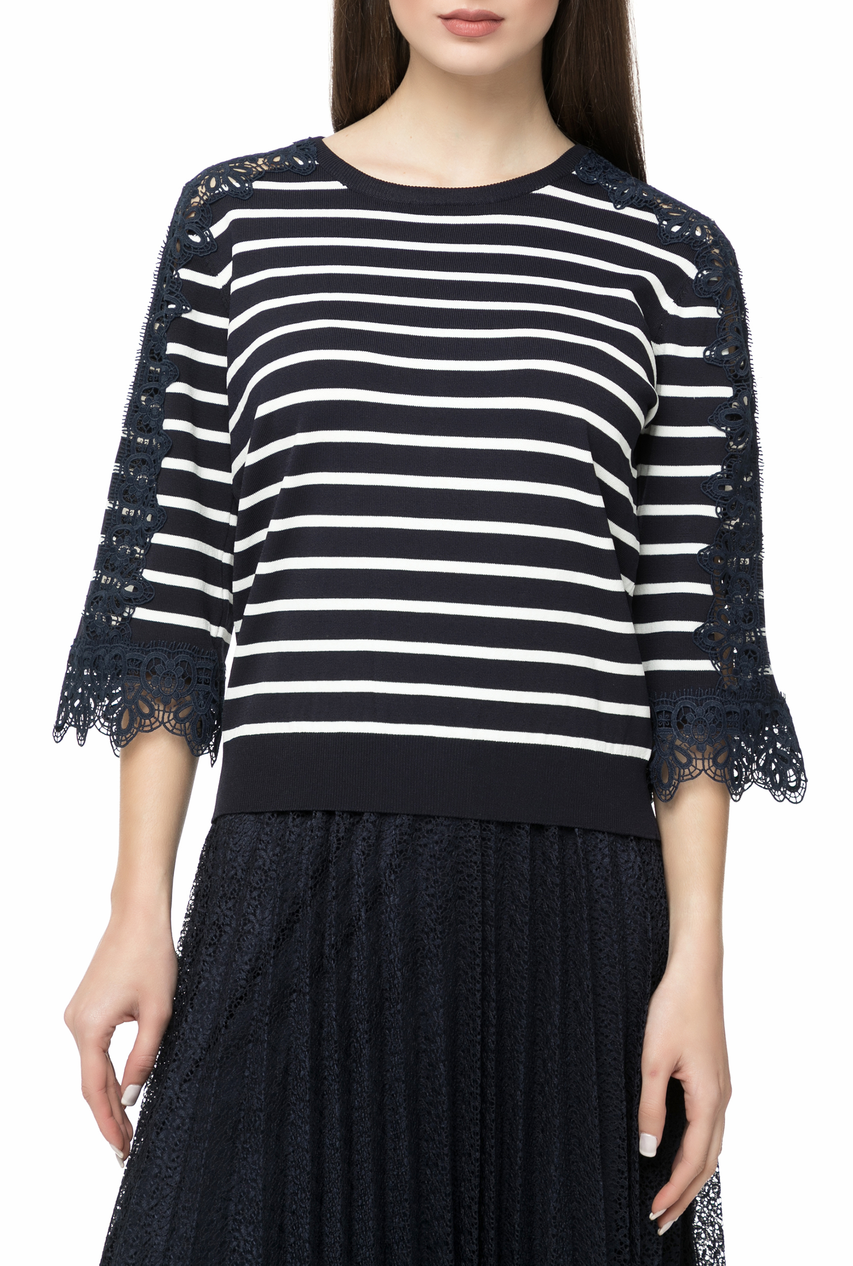 MOLLY BRACKEN - Γυναικεία μακρυμάνικη μπλούζα MOLLY BRACKEN μπλε με ριγέ μοτίβο γυναικεία ρούχα μπλούζες μακρυμάνικες