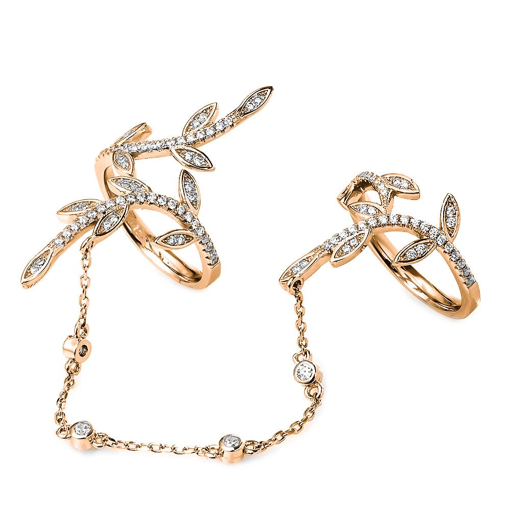 18eac09dc6 FOLLI FOLLIE - Γυναικείο διπλό δαχτυλίδι με αλυσίδα FOLLI FOLLIE ροζ-χρυσό