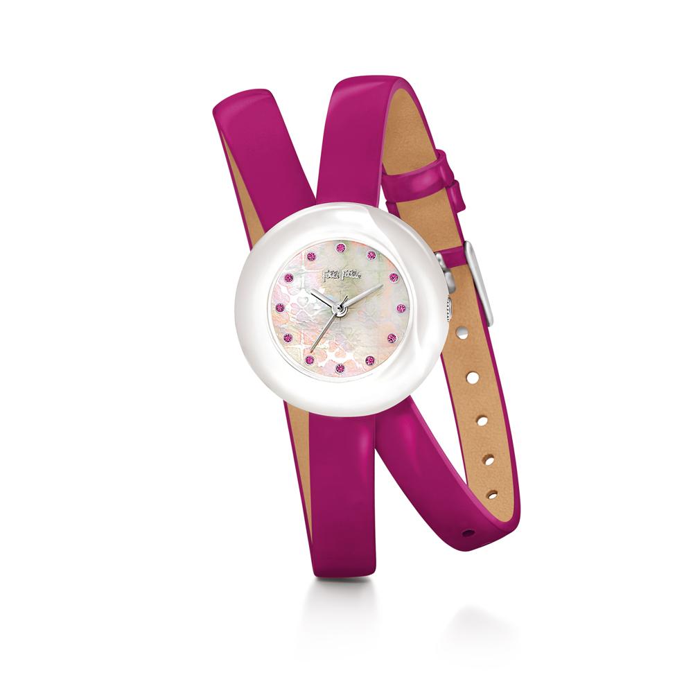 FOLLI FOLLIE - Γυναικείο ρολόι Folli Follie με διπλό δερμάτινο λουράκι φούξια γυναικεία αξεσουάρ ρολόγια δερμάτινα