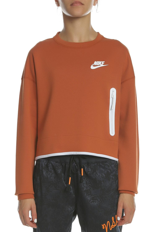 e723e4be3381 NIKE - Γυναικεία φούτερ μπλούζα NIKE NSW TCH FLC CREW πορτοκαλί