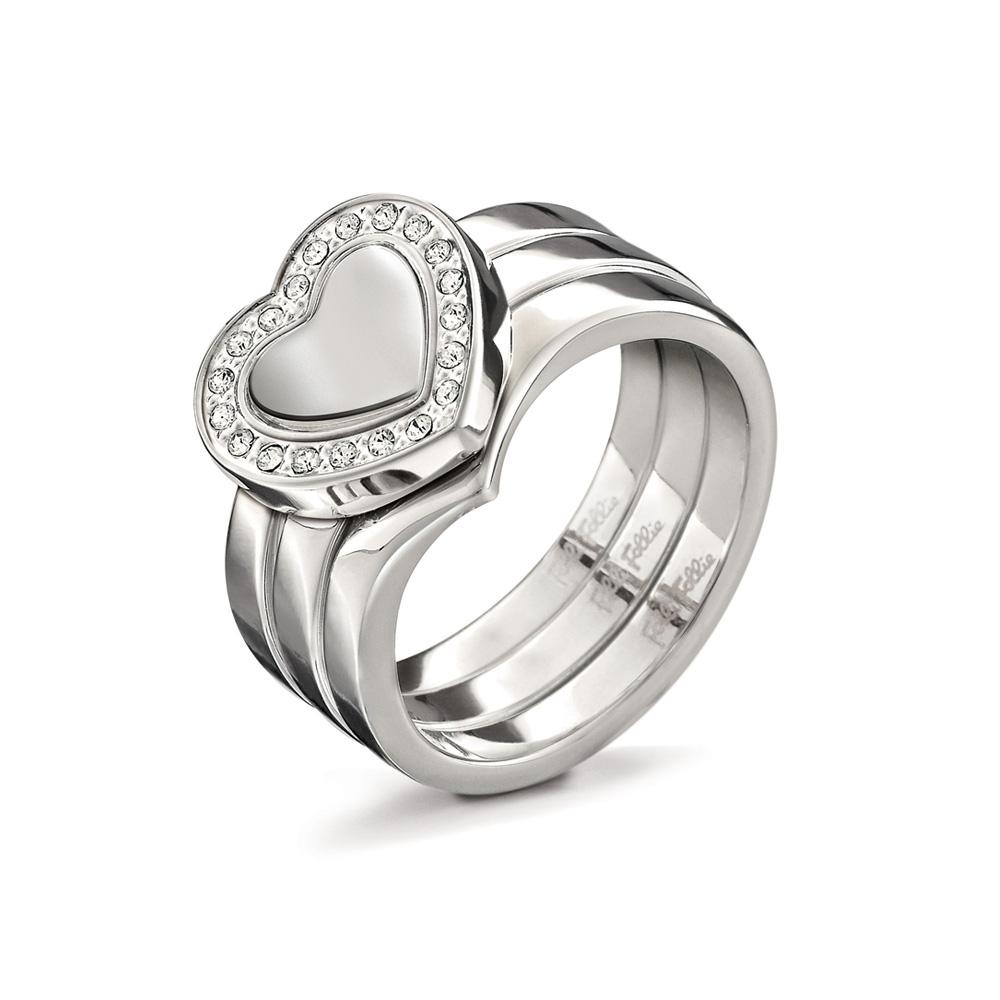FOLLI FOLLIE - Γυναικείο επάργυρο τριπλό δαχτυλίδι PLAYFUL HEARTS με καρδιές γυναικεία αξεσουάρ κοσμήματα δαχτυλίδια