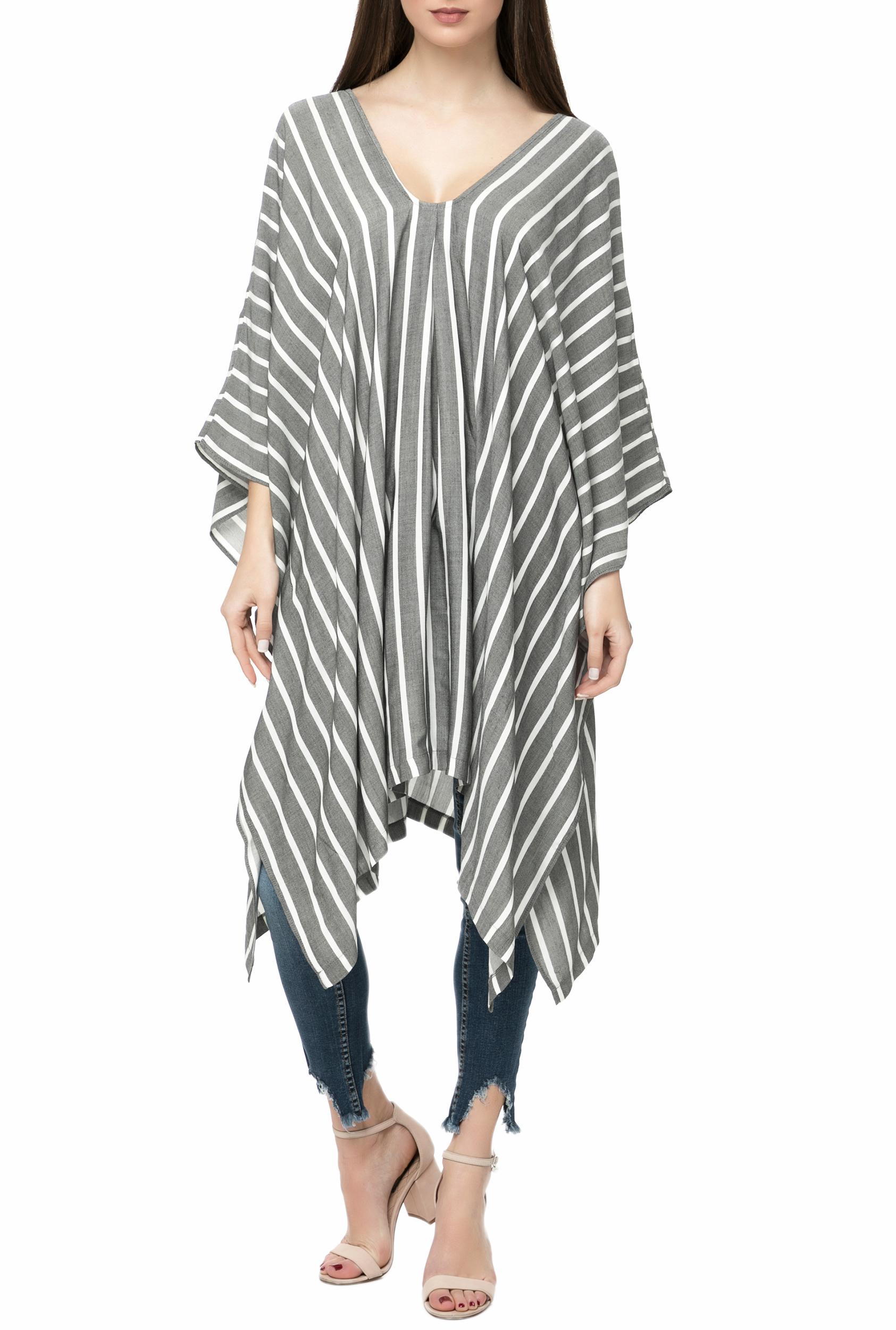 LA DOLLS - Γυναικεία μακριά ριγέ τουνίκ L.A. DOLLS MORNING STRIPED γκρι-λευκή γυναικεία ρούχα πουκάμισα πουκαμίσες