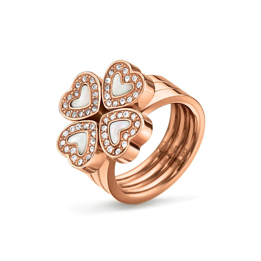 FOLLI FOLLIE - Σετ από 3 δαχτυλίδια με καρδιές FOLLI FOLLIE ροζ-χρυσά γυναικεία αξεσουάρ κοσμήματα δαχτυλίδια