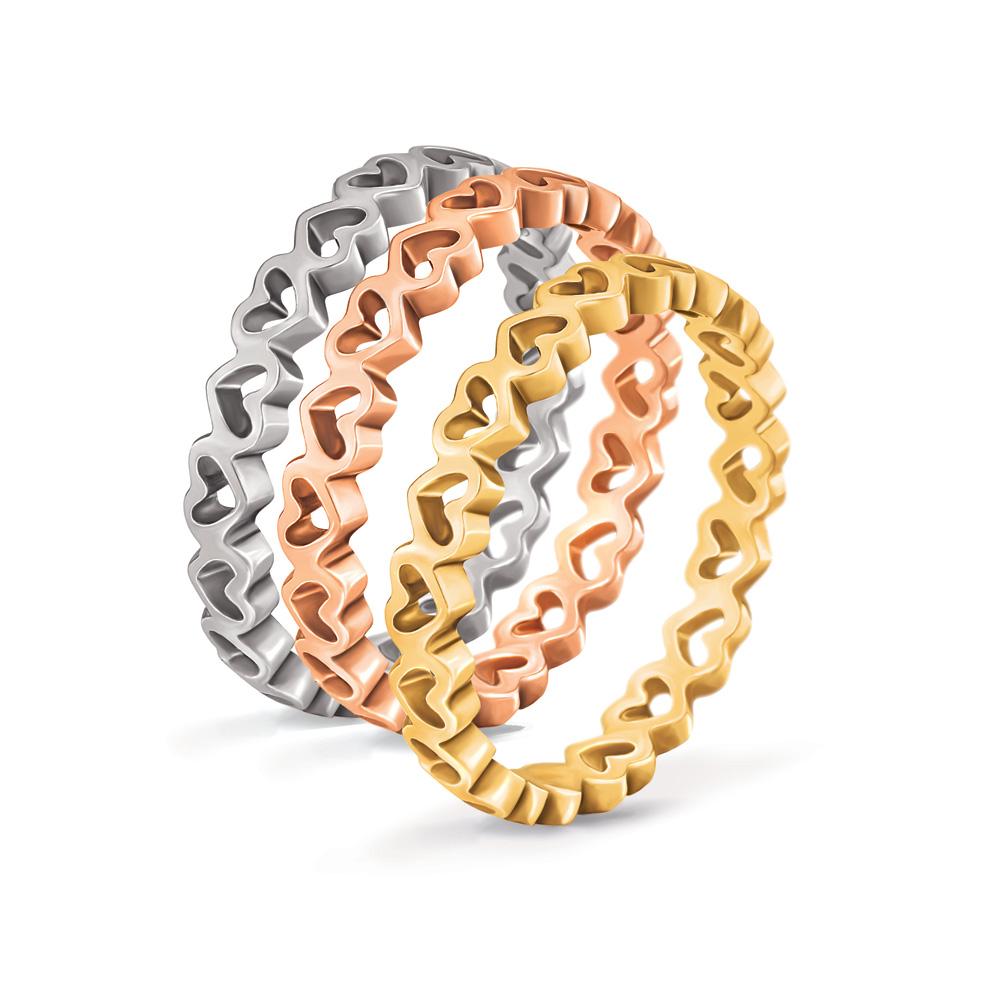 FOLLI FOLLIE - Σετ από 3 δαχτυλίδια με καρδιές LOVE&FORTUNE ασημί, επίχρυσο & κί γυναικεία αξεσουάρ κοσμήματα δαχτυλίδια