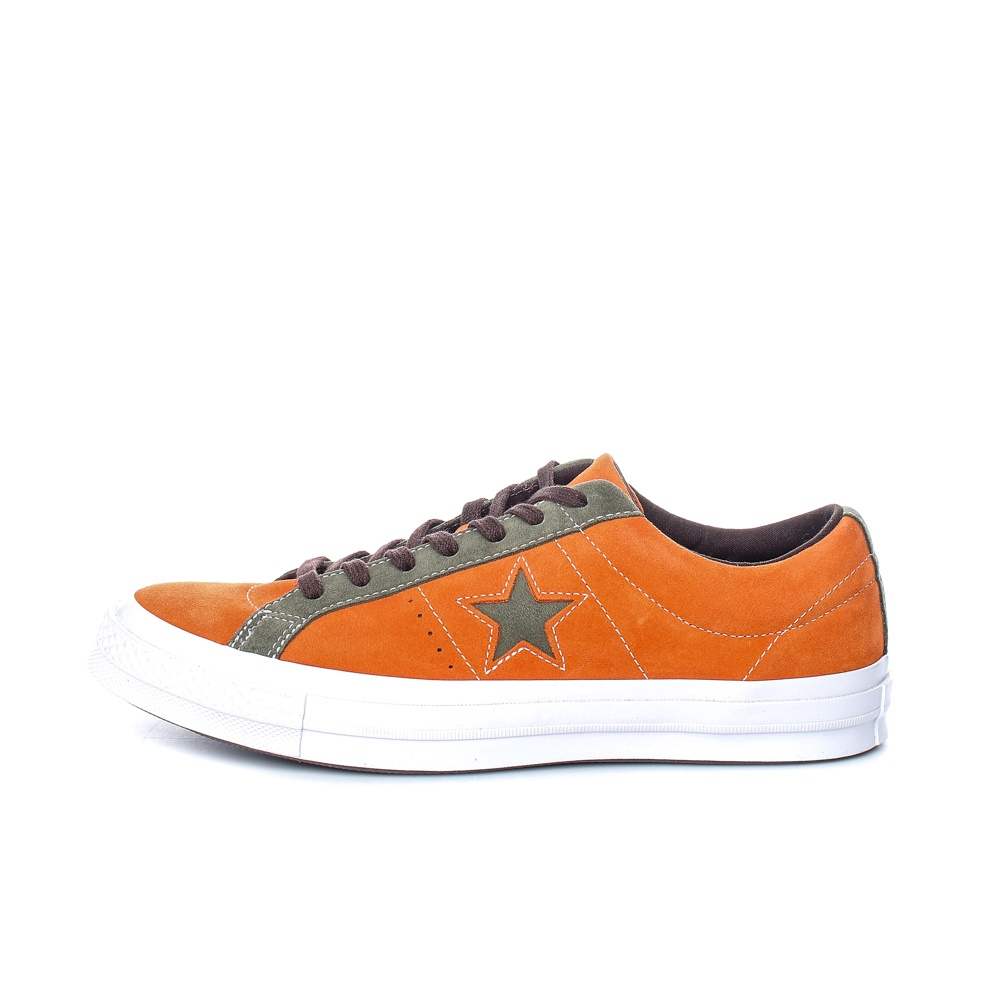CONVERSE – Ανδρικά σουέτ sneakers CONVERSE ONE STAR πορτοκαλί – χακί