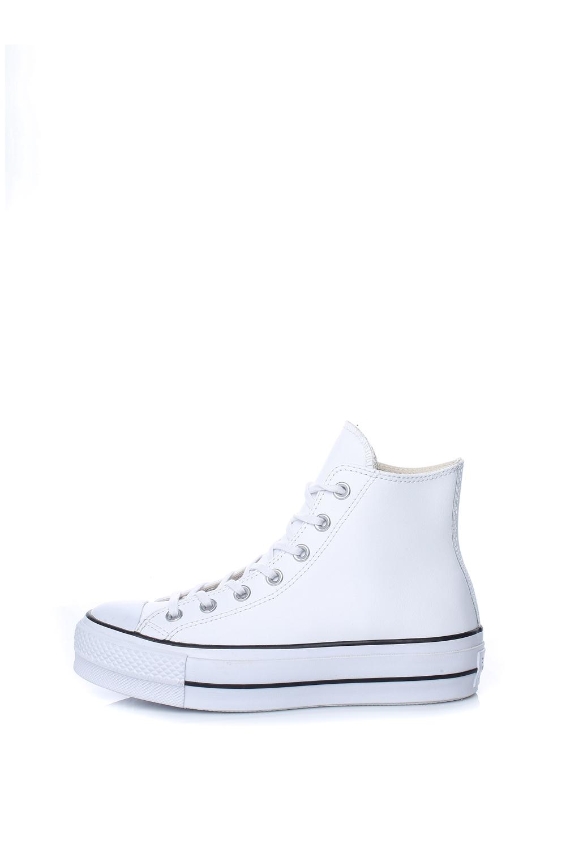 CONVERSE – Γυναικεία δερμάτινα sneakers CONVERSE CHUCK TAYLOR ALL STAR LIFT λευκά