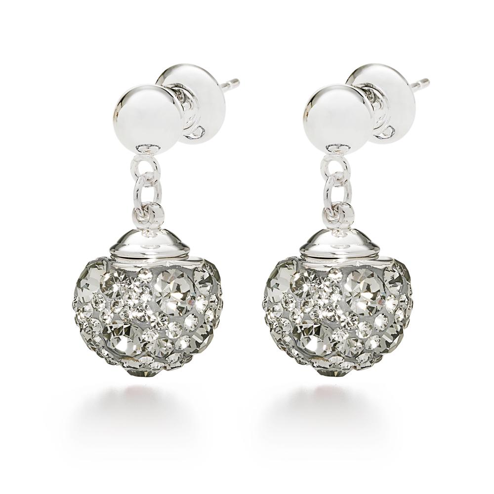 c612aab0eb Κοσμήματα. -50% FOLLI FOLLIE – Επάργυρα καρφωτά σκουλαρίκια Folli Follie  MATCH   DAZZLE με γκρι κρυστάλλινες πέτρες