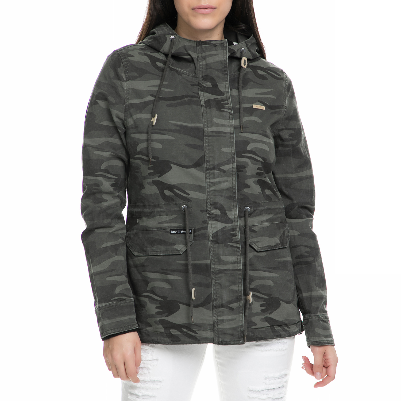 EMERSON - Γυναικείο μακρύ jacket Emerson χακί με παραλλαγή γυναικεία ρούχα πανωφόρια μπουφάν