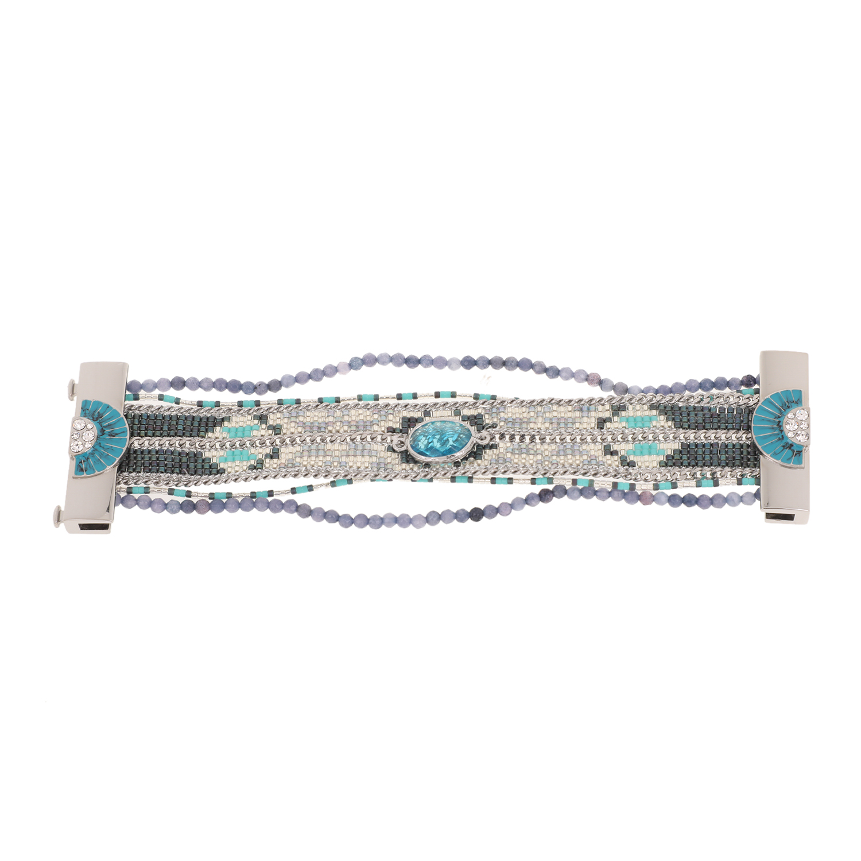 HIPANEMA - Γυναικείο βραχιόλι από μέταλλο HIPANEMA ασημί-γαλάζιο