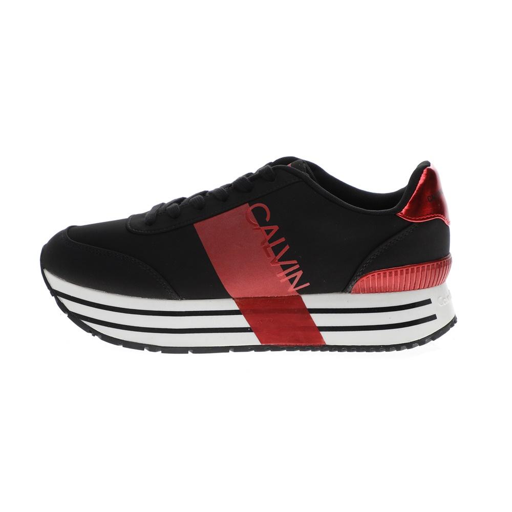 CALVIN KLEIN JEANS – Γυναικεία sneakers CALVIN KLEIN JEANS CORETTA μαύρα κόκκινα