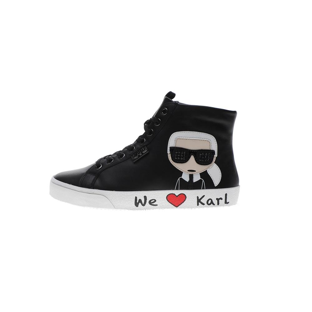 KARL LAGERFELD – Γυναικεία ψηλά sneakers KARL LAGERFELD SKOOL Karl Ikonic Hi Lace μαύρα
