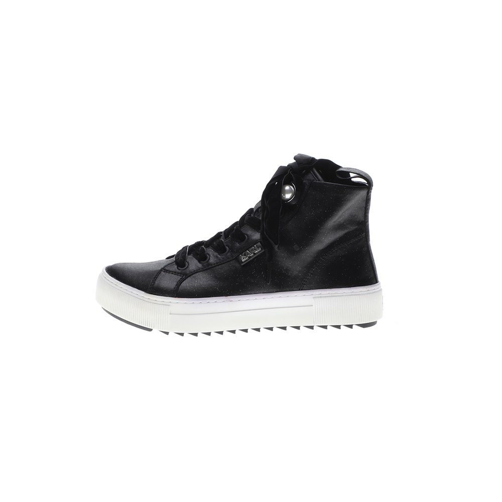 KARL LAGERFELD – Γυναικεία ψηλα sneakers KARL LAGERFELD LUXOR KUP Satin Hi Lace μαύρα