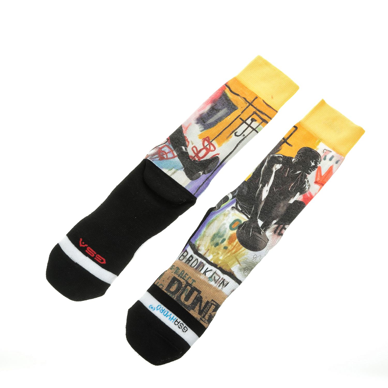 GSA - Ανδρικές αθλητικές ψηλές κάλτσες GSA ALL OVER PRINT μαύρες-κίτρινες ανδρικά αξεσουάρ κάλτσες