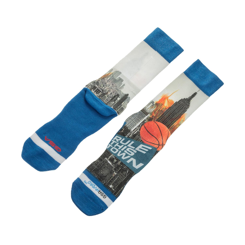 GSA - Ανδρικές αθλητικές ψηλές κάλτσες GSA ALL OVER PRINT μπλε-λευκές ανδρικά αξεσουάρ κάλτσες