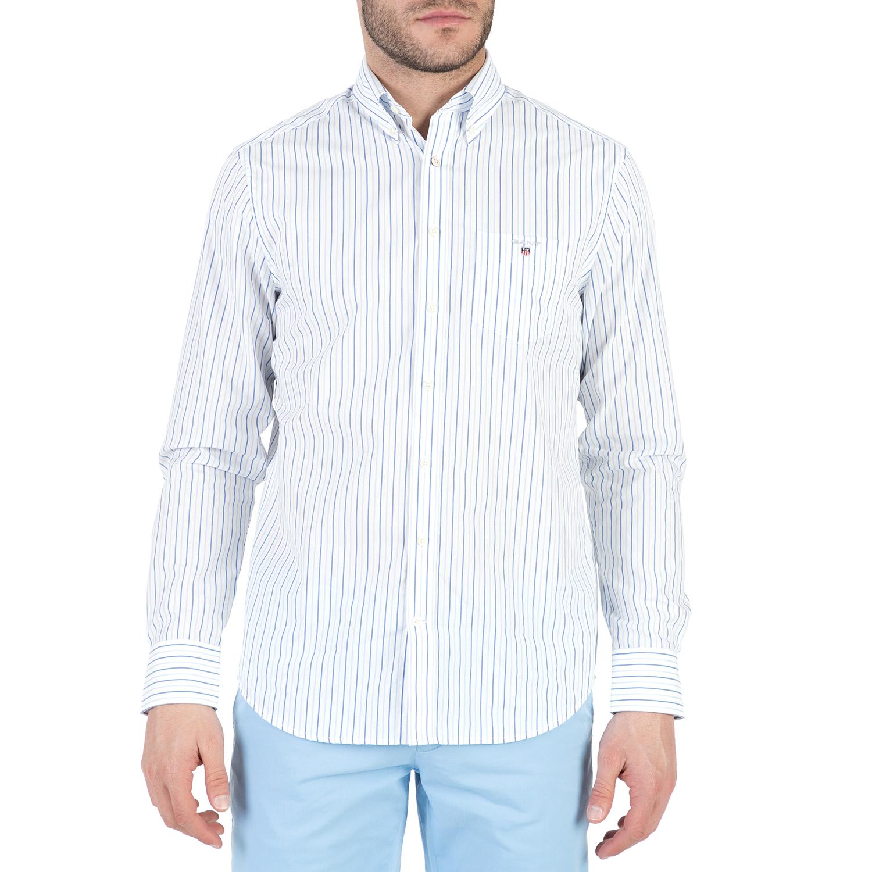 GANT - Ανδρικό μακρυμάνικο πουκάμισο GANT με γαλάζιες ρίγες ανδρικά ρούχα πουκάμισα μακρυμάνικα