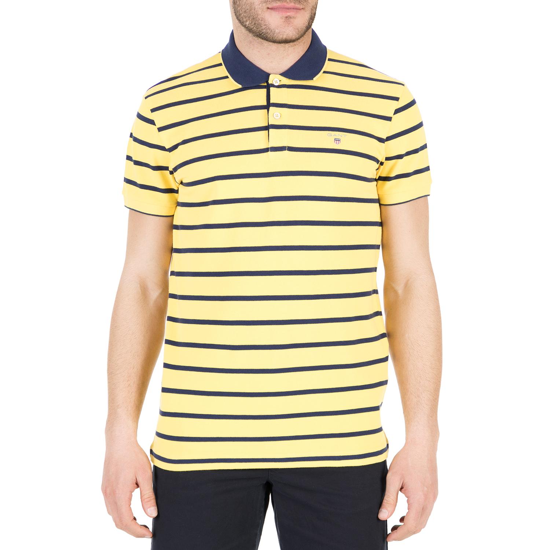 1db94e902f75 GANT – Ανδρική πόλο μπλούζα GANT κίτρινη με ρίγες 1666638.0-W008