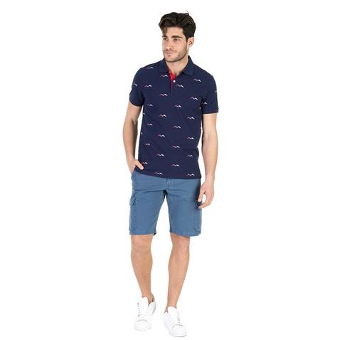 GANT-Ανδρική πόλο μπλούζα GANT μπλε με print