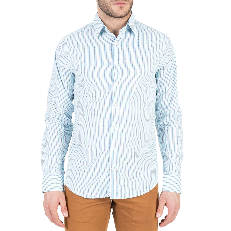 GANT - Ανδρικό μακρυμάνικο πουκάμισο GANT γαλάζιο με ριγέ μοτίβο ανδρικά ρούχα πουκάμισα μακρυμάνικα