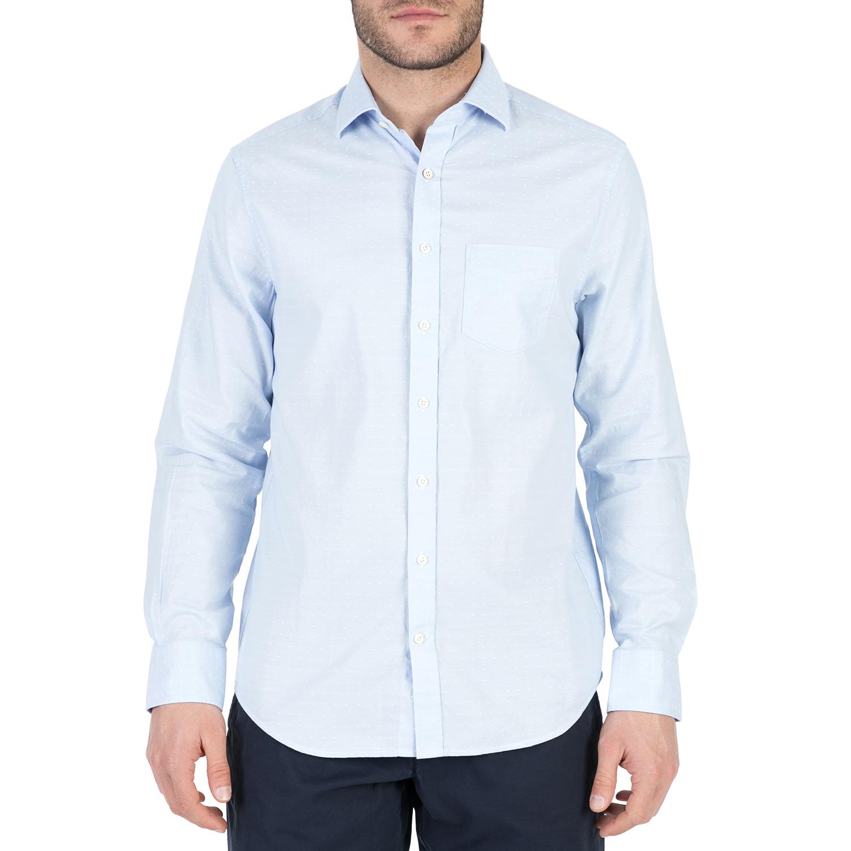 GANT - Ανδρικό μακρυμάνικο πουκάμισο GANT γαλάζιο με πουά μοτίβο ανδρικά ρούχα πουκάμισα μακρυμάνικα