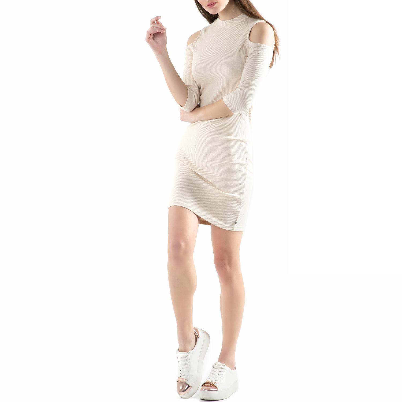 FUNKY BUDDHA - Μίνι φόρεμα FUNKY BUDDHA μπεζ γυναικεία ρούχα φορέματα μίνι