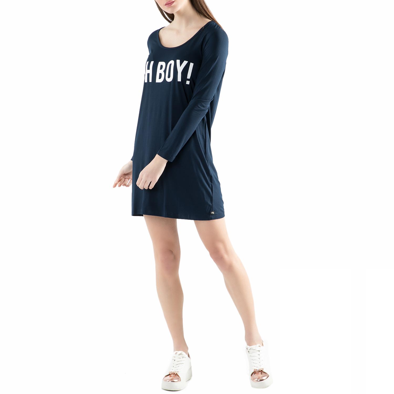 FUNKY BUDDHA - Μίνι φόρεμα FUNKY BUDDHA μπλε με στάμπα γυναικεία ρούχα φορέματα μίνι